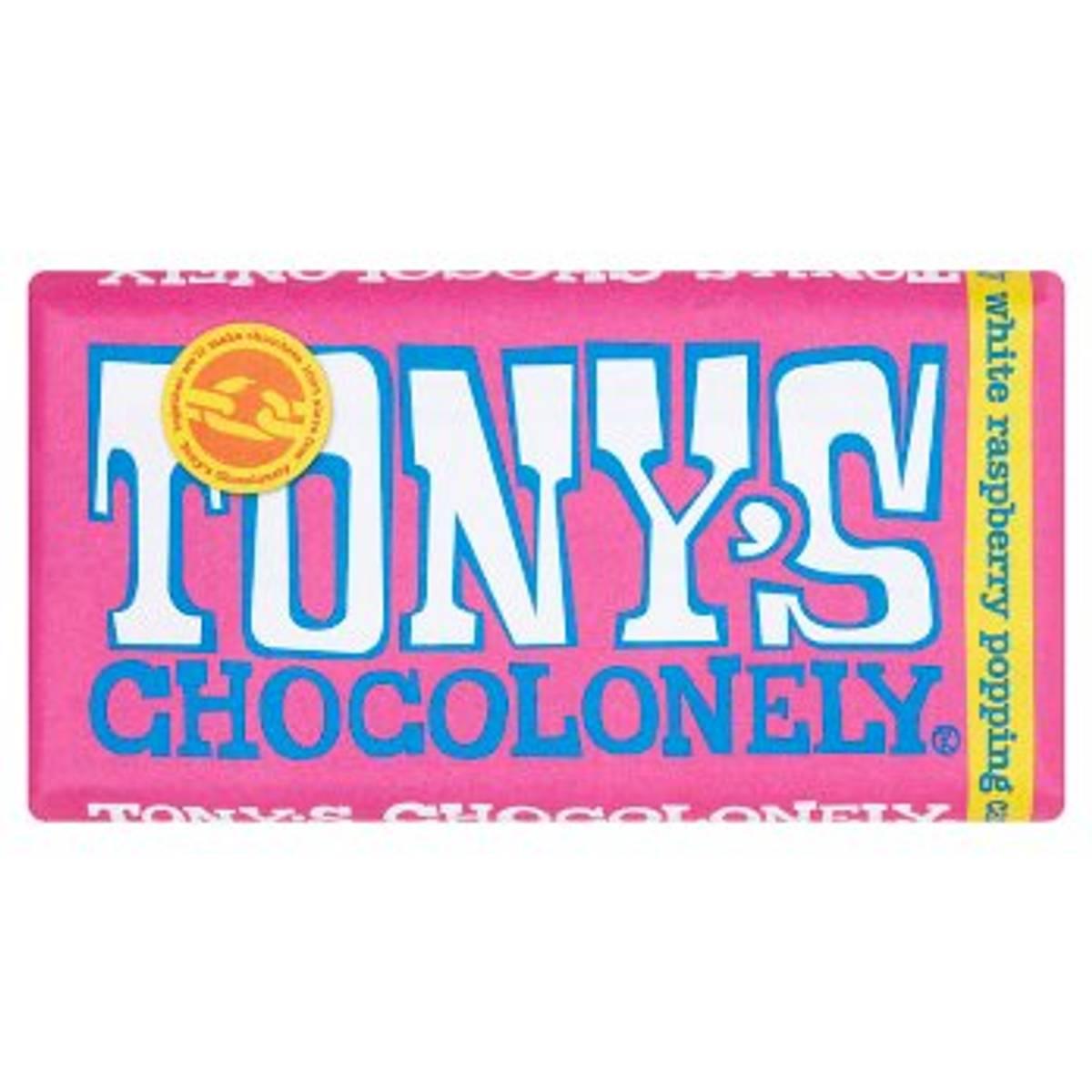 Hvit melkesjokolade White Raspberry Popping Candy 180g / Tony´s