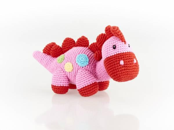 Bilde av Heklet babydinosaur rangle Pink / Pebble - Best Years