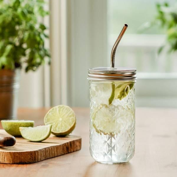 Bilde av 3 dl Smoothieglass med lokk og sugerør / Beeorganic